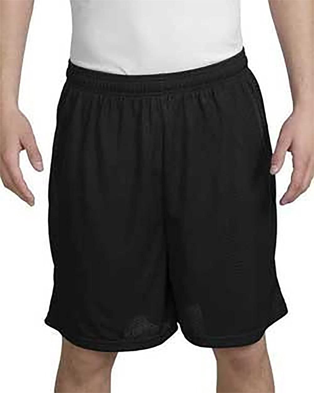 Black Mens Big Mesh Short Sport-Tek Medium