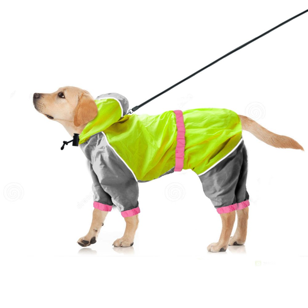 Reflective Waterproof Dog Raincoat - Lightweight and Breathable Hooded Rainwear for Medium Large Dogs - Green,31.5'' Back 35.5'' Chest for 2X-Large Dogs by Beirui (Image #1)