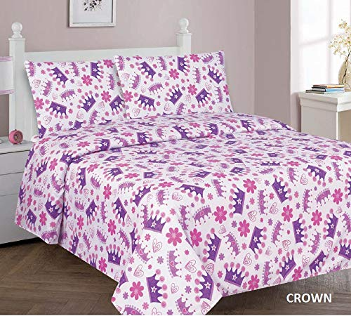 Princess Crown Full Sheet Set Sapphire Home 4 Piece Kids Girls Full Sheet Set w Fitted, Flat & 2 Pillow Cases, Fun Print, Butterfly Print Lavender, Pink color, Butterfly Pink Lavender Full Sheet