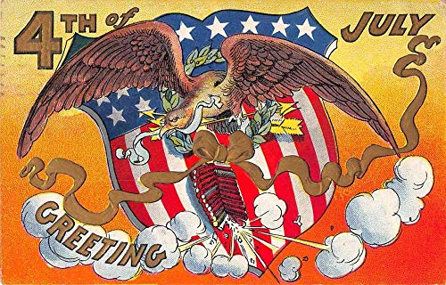 July 4th Greetings Eagle with Firecrackers Patriotic Vintage Postcard JJ649263