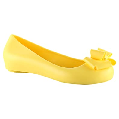 c47d1a45885532 ByPublicDemand Sarah Womens Flats Bow Detail Peep Toe Jelly Sandals Shoes  Yellow Size 8 UK