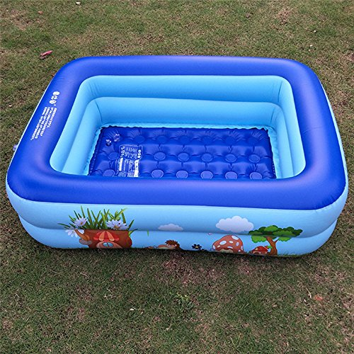 LBZE Rectangular Baby Pool with Soft Inflatable Floor, Giant Family Swim Paddling Pool, Two Ring