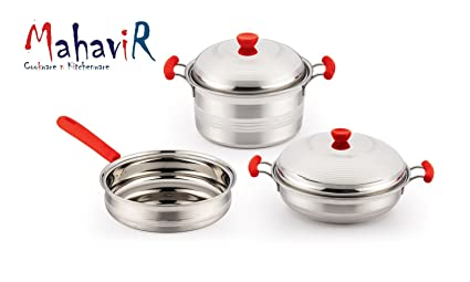 8216dd51de4 Image Unavailable. Image not available for. Colour  MAHAVIR 5PC INDUCTION  BASE STAINLESS STEEL COOKWARE SET ...