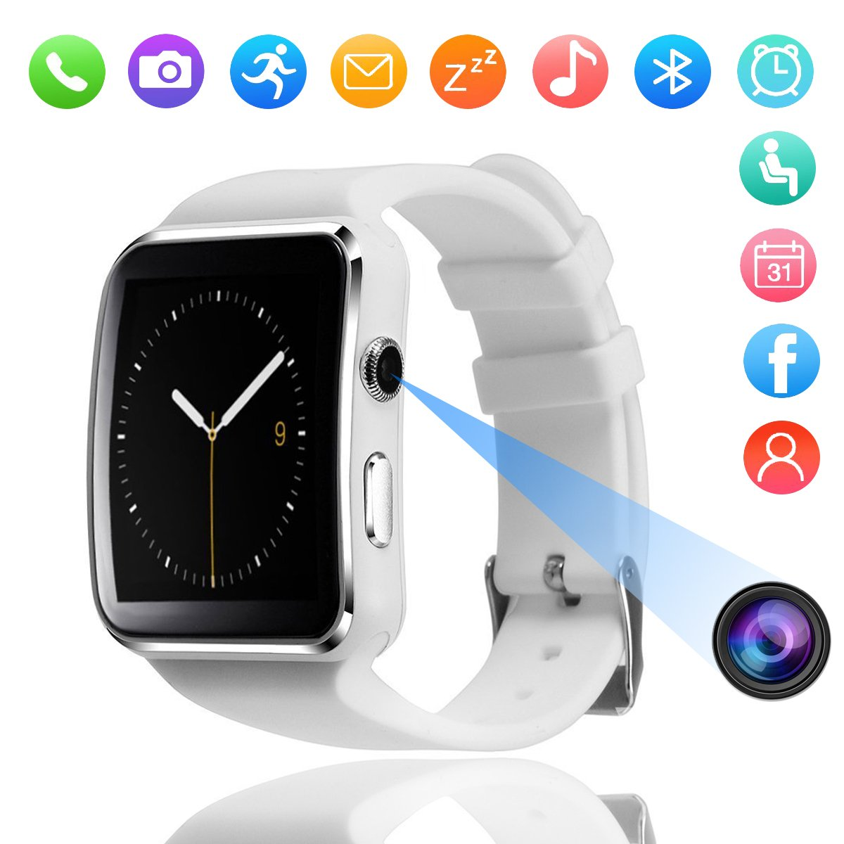 Bluetooth Smart Watch, DMDG Touch Screen Smartwatches with Camera Unlocked Smart Watches Cell Phone SIM Card Slot, Wrist Watch for Kids/Boys/Girls/Elder/Men/Women (White) by DMDG