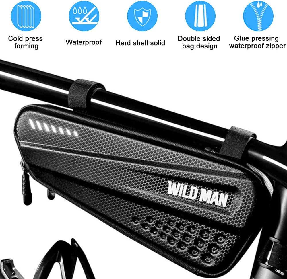 Waterproof Bicycle Top Tube Pouch Cell Phone Mount with Touch Screen Window Bike Frame Bag with Mobile Phone Holder for iPhone Samsung Smart Phone up to 6.5
