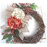 Fall Welcomer - Orange and Cream - Thanksgiving Wreath for Front Door