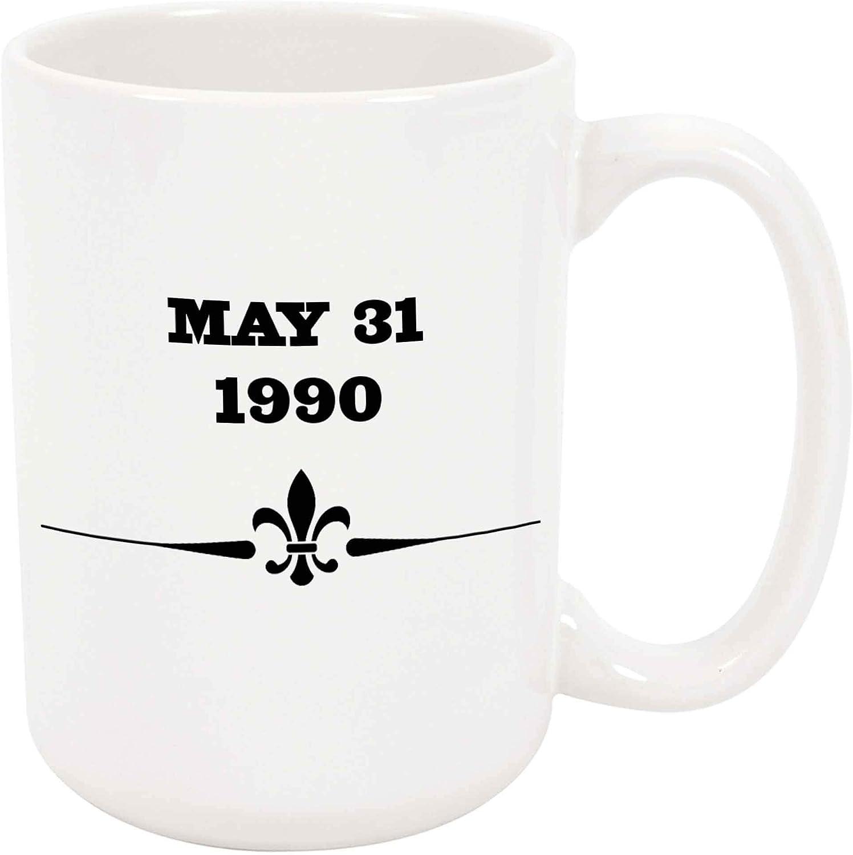 31 de mayo de 1990 Taza grande de café o té de 11 oz Fecha Regalo Cumpleaños Aniversario del amor Anuncio de nacimiento del bebé Presente