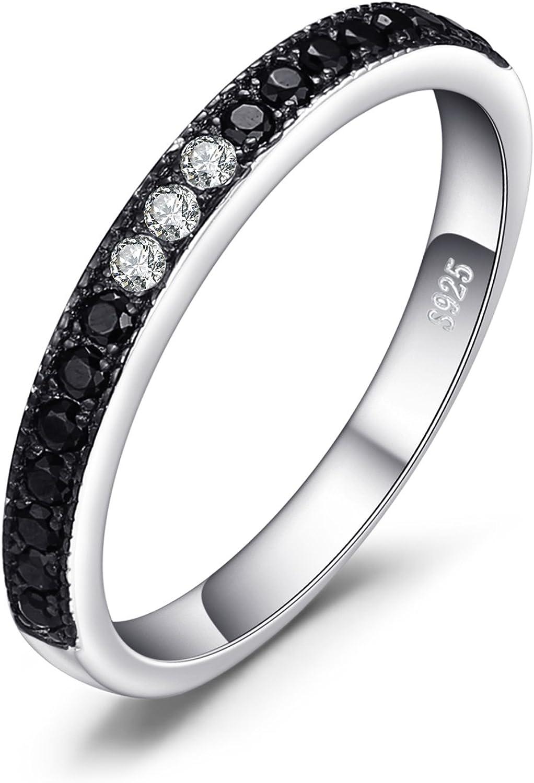 JewelryPalace Anillo de media eternidad 3 piedra Espinela negra genuina Zirconia cúbica Aniversario Alianza de boda Plata de ley 925