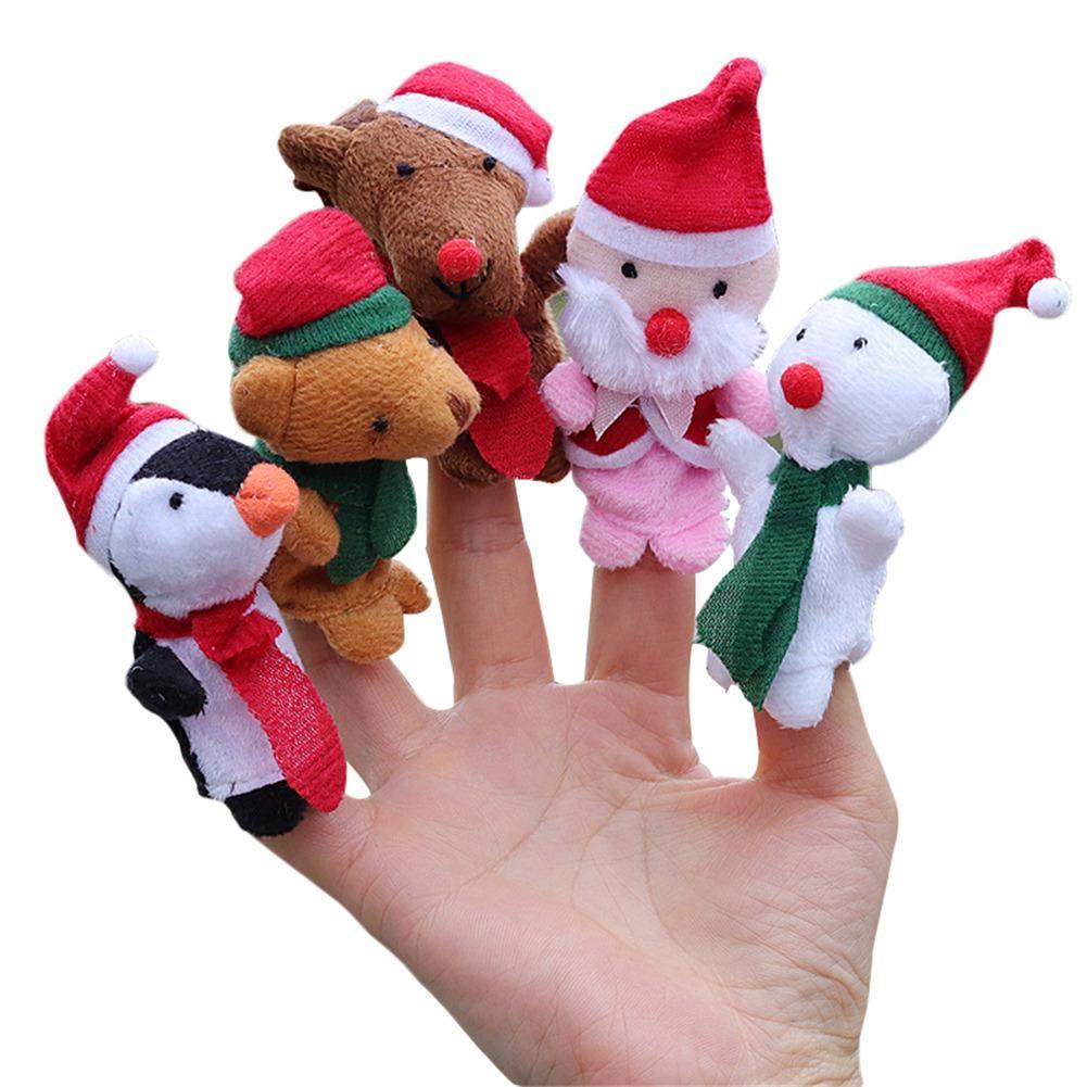 5 Fingerpuppen Set Spielhandschuh Safari Weihnachtsspielzeug PäDagogisches Spielzeug Des Babys Mini Tiere Plüsch Fingerpuppe Sue Supply