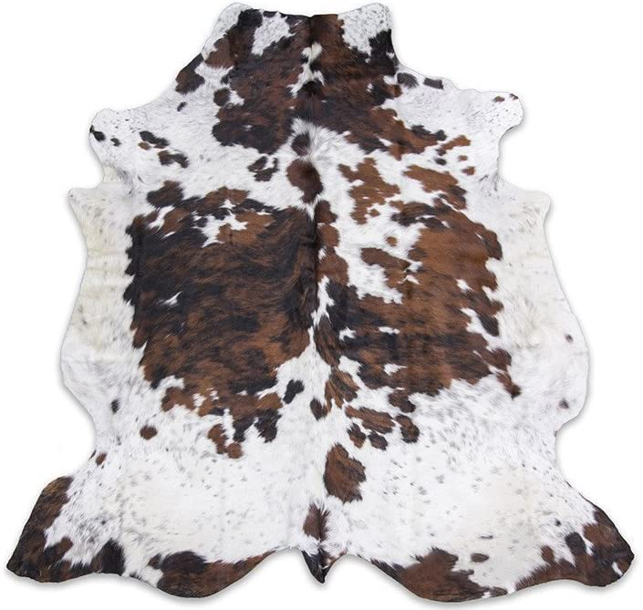 New COWHIDE RUG TRICOLOR 6/'x7/' Cow Skin Rug Leather Cow Hide