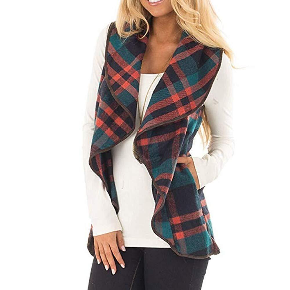 UOWEG Weste Mantel Damen Damen Weste Plaid gedruckt Herbst /ärmellose Revers vorne offen unregelm/ä/ßige Strickjacke Sherpa Jacke Taschen