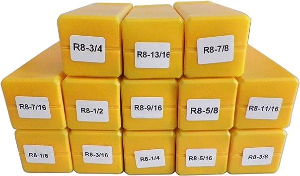 """R8 13 Piece Round Collet Set 1//8/""""-7//8/"""" by 16ths"""