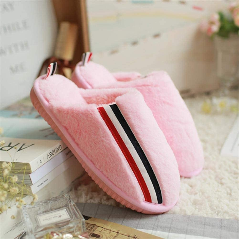 Pink JaHGDU Lady Cotton Slippers Keep Warm in Autumn and Winter Home shoes Slip Slippers for Women Pink Black Khaki
