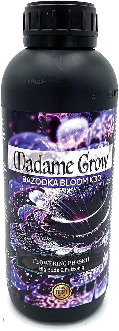 MADAME GROW / Abono Floración/Marihuana/Revientacogollos Cannabis/Bazooka Bloom K30 / Cogollos explosivos/Más Resina/Más Sabor/Abono 100% Orgánico (1 litro)