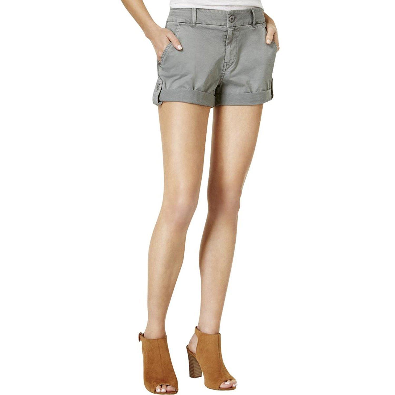 Lucky Brand Women's Cuffed Cargo Shorts (Washed Grey, 14)
