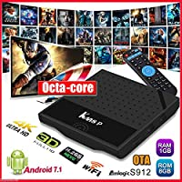 2017 OzTeck KM8P Pro 4K Android 7.1.1 TV BOX Octa-Core 2GB+16GB+i8 Backlit Wireless Keyboard