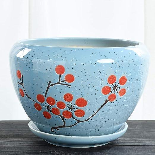 SANSAN Maceta de cerámica, con Bandeja - Dibujo a Mano - para ...