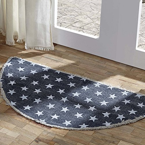 VHC Brands 16065 Classic Country Americana Flooring - Multi Star Blue Half Circle Cotton Rug, 16.5