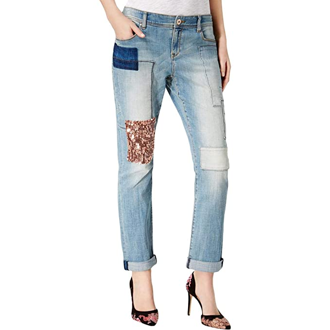 ccbe0a3b4be Amazon.com: INC Womens Denim Patchwork Boyfriend Jeans Blue 6: Clothing