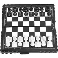 SolUptanisu Juego de ajedrez magnético, Tablero de ajedrez Plegable de plástico portátil Juego de ajedrez magnético Juego para niños y Adultos Fiesta Actividades Familiares