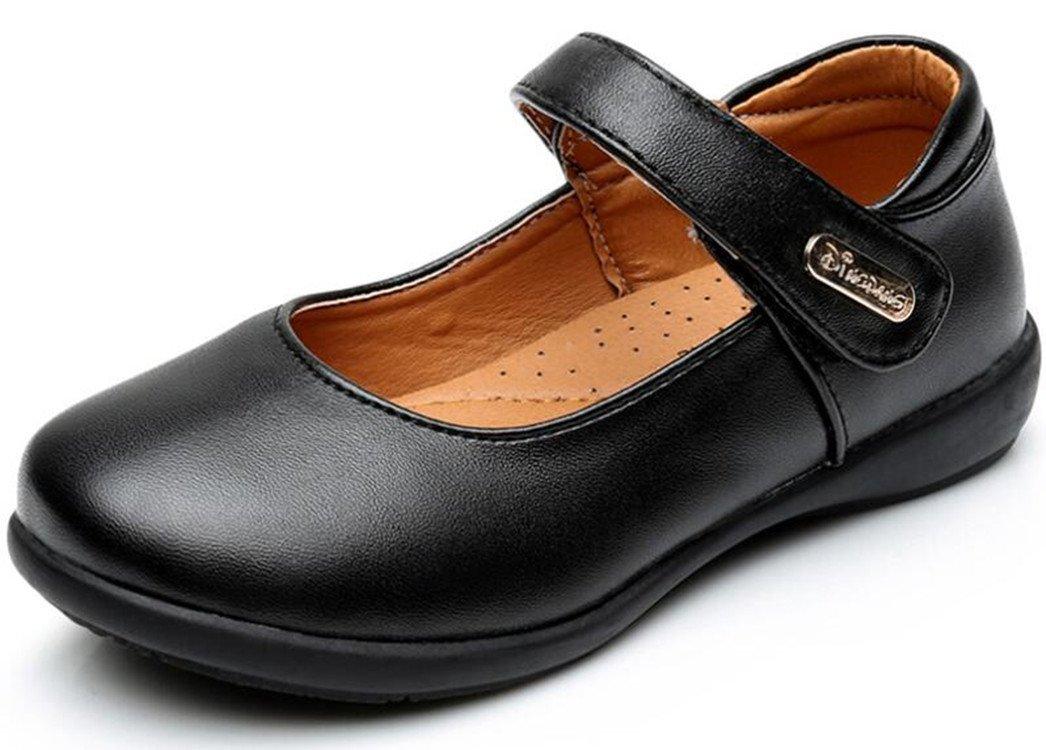 Bumud Kid Girl's School Uniform Mary Jane Flat Dress Shoes (Toddler/Little Kid) (12 M US Little Kid, Black 2)