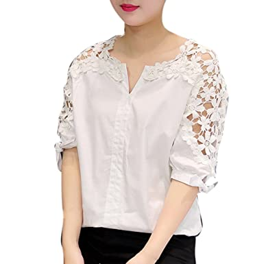 4fc7e24ad0e XCLOTH Women Lace Floral Tops Blouse T001 Sheer Lace Tunic Tank Top Crochet  Blouse Ivory Lace Source · EFINNY Womens Shirts Plus Size Hollow Shoulder  Lace ...