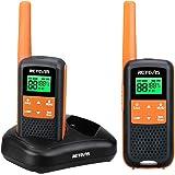 Retevis RT649 Walkie Talkie PMR446 Sin Licencia IP65 Impermeable 2 Métodos de Carga Dual Linterna Walkie Talkie Recargable 3AA Batería NIMH (Naranja, 1Par)