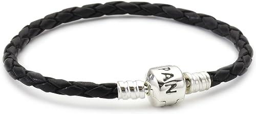 Pandora - 59705CBK-S1 - Bracelet Femme - Cuir Noir - Argent 925/1000 - 17.5  cm