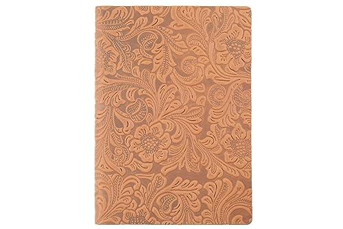 Cuaderno/diario en cuero con estampado floral real - tamaño ...
