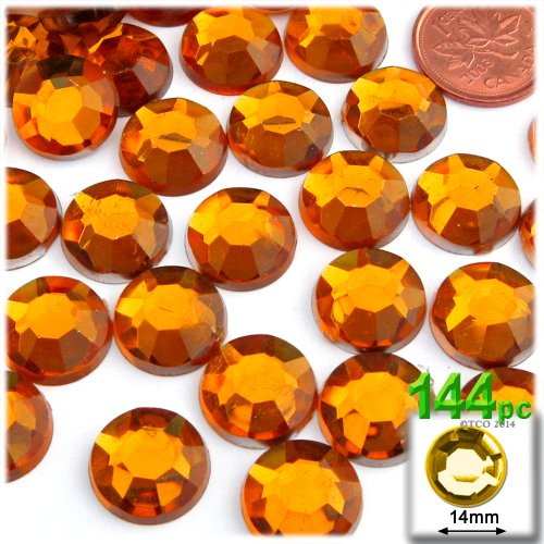 Rhinestone Orange (The Crafts Outlet 144-Piece Flatback Round Rhinestones, 14mm, Orange)