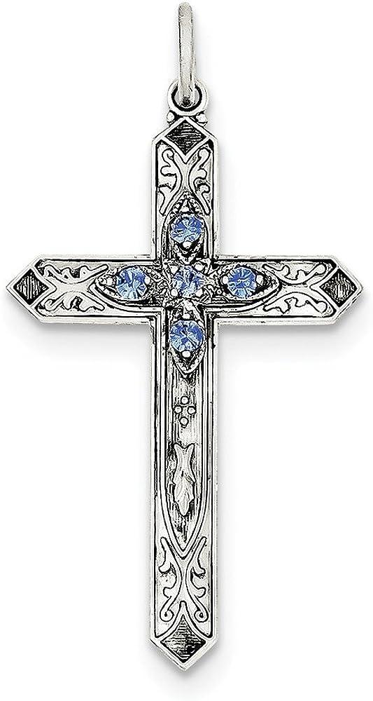 Diamond2Deal - Colgante de cruz de plata de ley 925 con piedra natal de septiembre