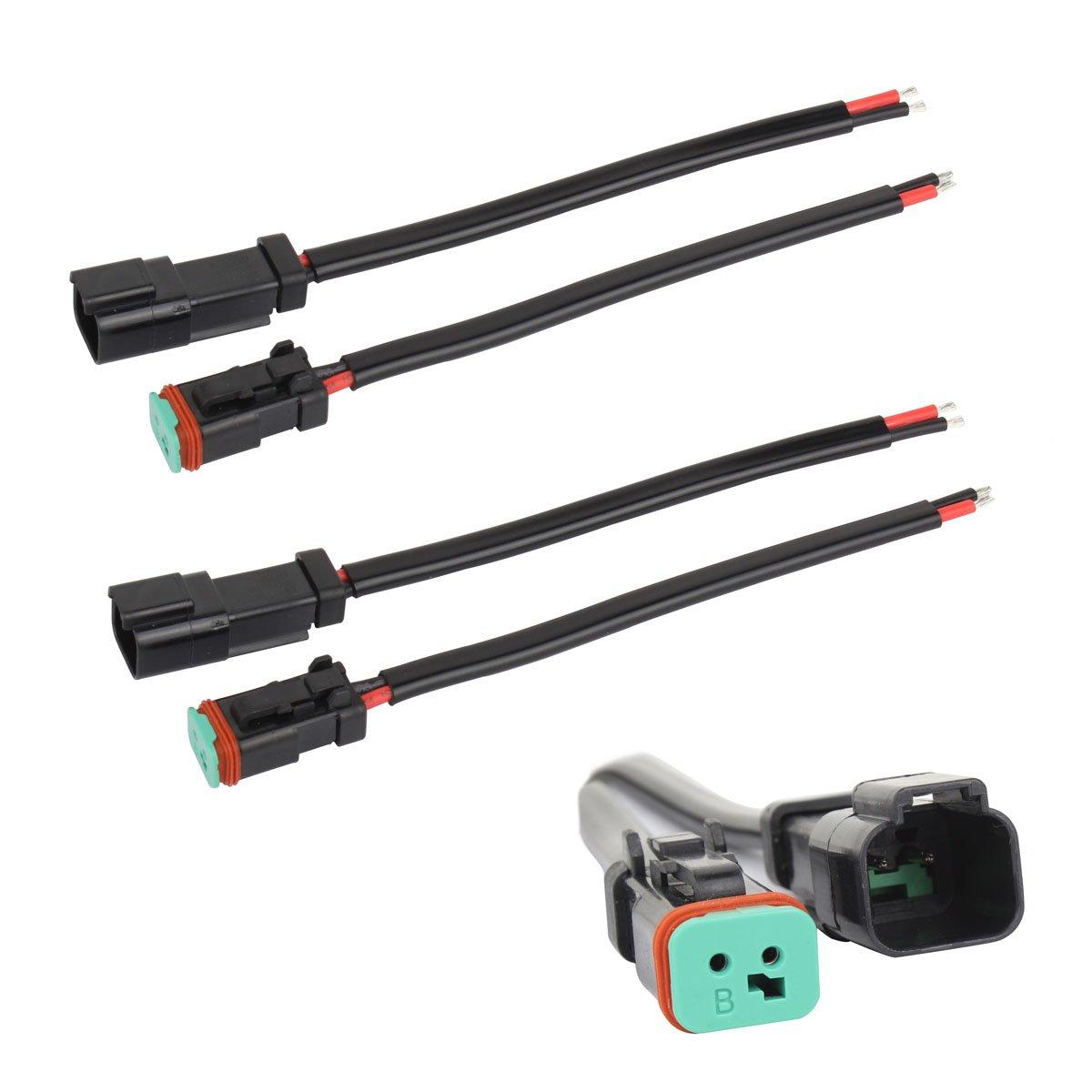 TOMALL 2 conducteurs Deutsch DT DTP 2 broches Adaptateur de prise pour la lumi/ère de travail de LED Connecteurs de rattrapage