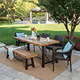 Great Deal Furniture Morley Outdoor 6 Piece Teak Finished Acacia Wood Dining Set with Multibrown Wicker Stacking Chairs