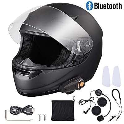 AHR Bluetooth Motorcycle Full Face Helmet Wireless Headset Helmet with Wireless Headset Intercom MP3 FM Radio DOT: Automotive