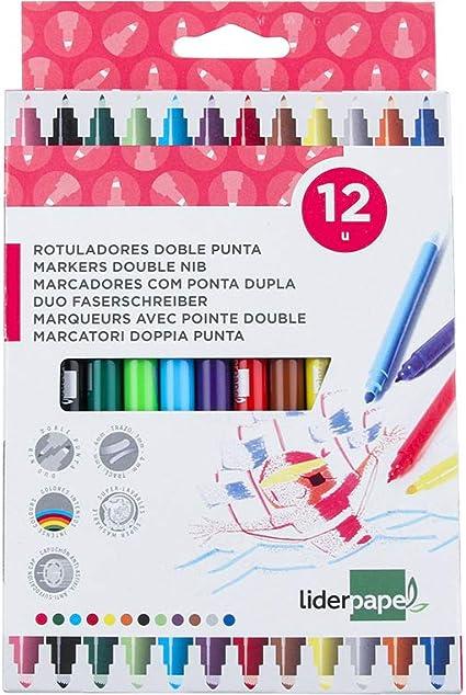 Liderpapel - Rotulador Dúo Caja 12 Colores: Amazon.es: Oficina y papelería