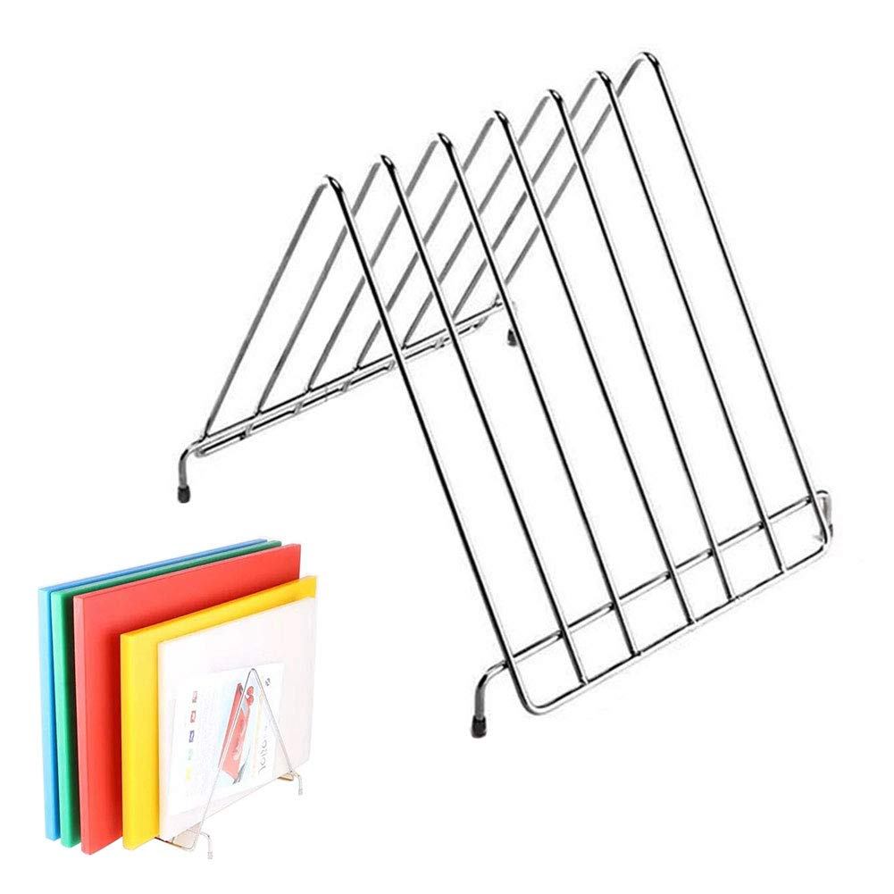 Chopping Board Rack, Triangle Home Holder Restaurant Six Slots Drying Practical Kitchen Stainless Steel Floor Type Multifunctional Storage Rack(26x25x28cm) by Lumpna