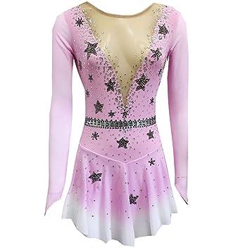 Traje de patinaje sobre hielo blanco rosa para niñas y ...