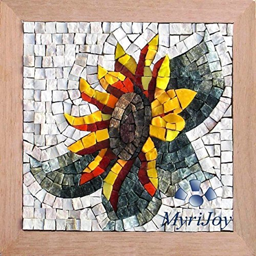 "Sunflower 9""x9"" DIY Mosaic craft kit for adults - Birthday/Anniversary gift ideas for women - Pebble art project - Italian marble & Venice-Murano glass tiles - Mosaics supplies from MyriJoy"