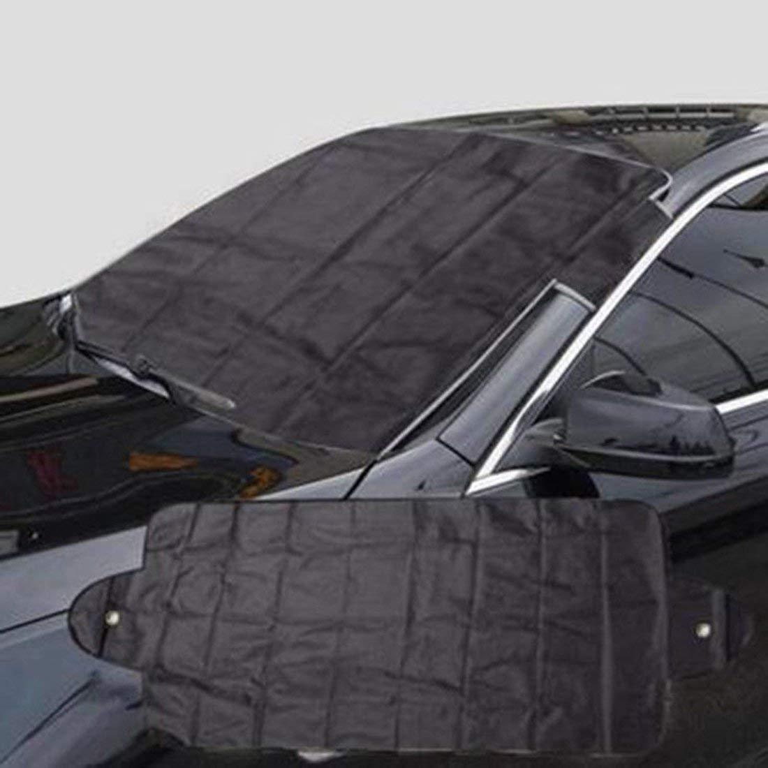 Formulaioue Cubierta del Parasol del autom/óvil Universal Protector de Hielo para el Parabrisas Invierno Verano Coche Ventana Delantera Cubiertas del Parabrisas-Plateado y Negro