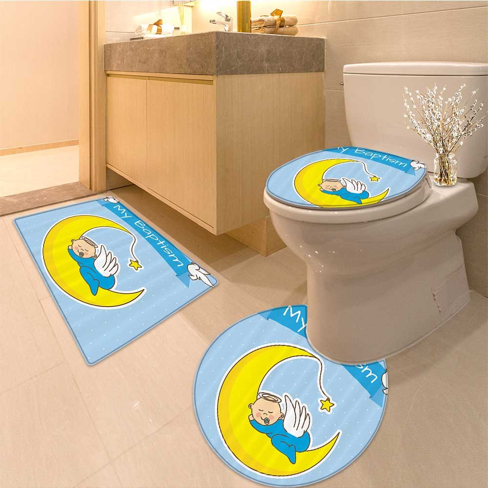 3 Piece Anti-slip mat setBamboo Zen Circle and Bamboo Silhouette over Vintage Color Orienta Eastern Patchwork Non Slip Bathroom Rugs by NALAHOMEQQ (Image #1)
