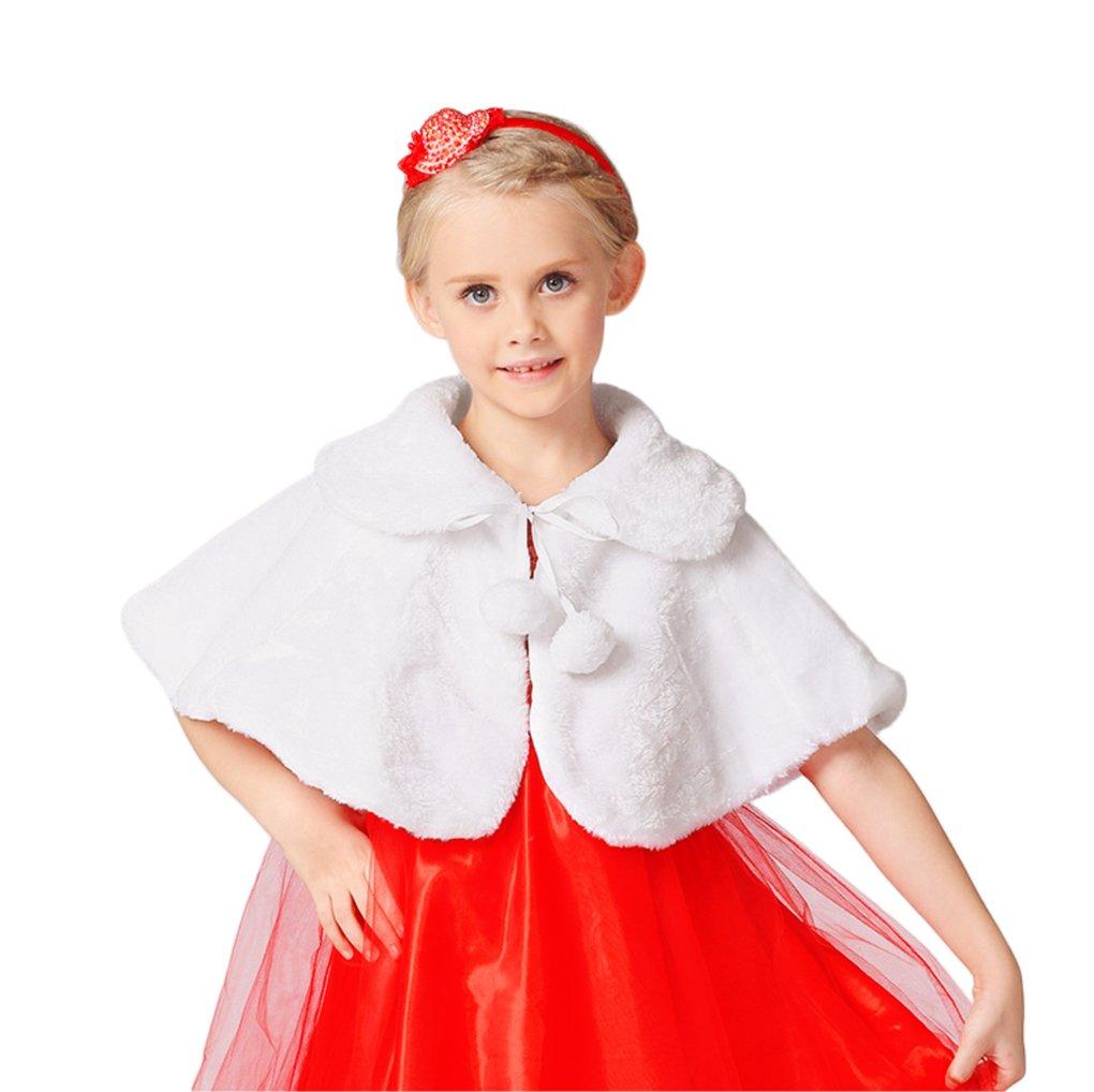 Flower Girls Faux Fur Shawl Wraps Cape Little Girls Kids Wedding Dress Shrug Shoulder Tippet Stole Pashmina Scarf Wrap with Pom Pom Tie by Greenery-GRE
