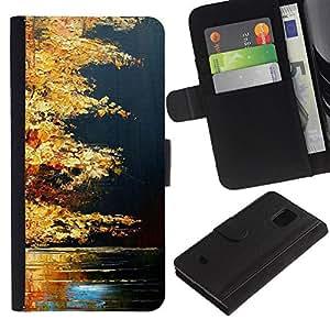 APlus Cases // Samsung Galaxy S5 Mini, SM-G800, NOT S5 REGULAR! // Otoño Otoño Lago Naturaleza Oro Brown // Cuero PU Delgado caso Billetera cubierta Shell Armor Funda Case Cover Wallet Credit Card
