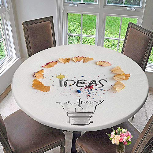 Mikihome Round Premium Table Cloth Hand Drawn Light Bulb Word Design IDEA with Pencil Saw dust on Paper Background as Creative Concept Perfect for Indoor, Outdoor 59