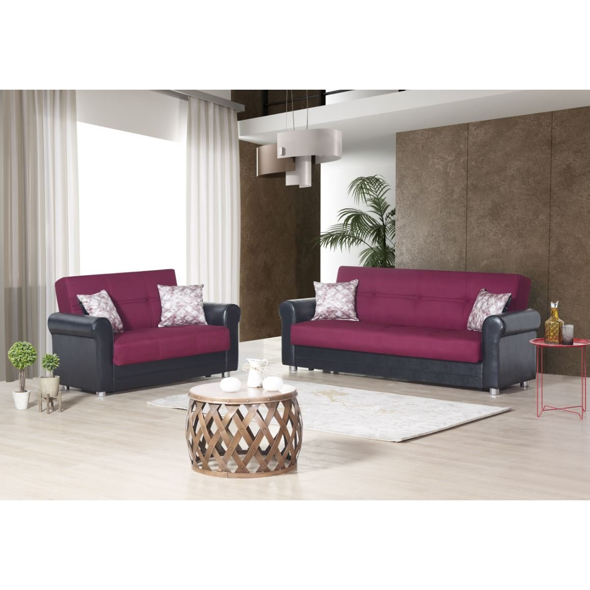 Casamode Avalon Plus Sofa Bed Prusa Burgundy Polyester