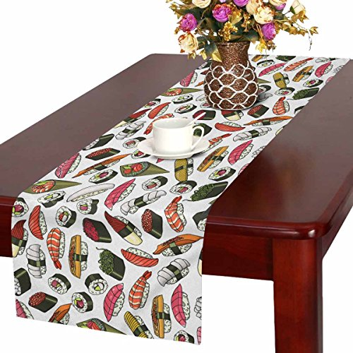 INTERESTPRINT Unique Food Table Runner Home Decor 16 X 72 Inch, Sushi Pattern Table Cloth Runner for Wedding Party Banquet -