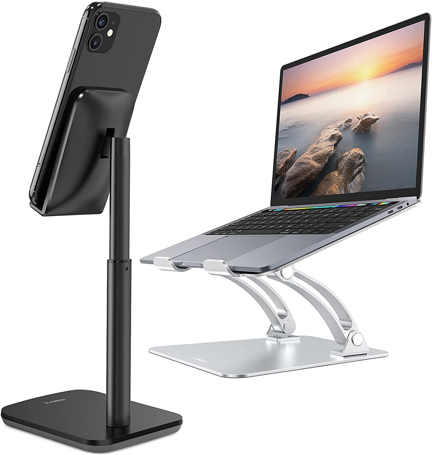 Nulaxty C1 Laptop Stand & Nulaxy T1 Phone Stand, iPhone Stand for Desk Compatible with iPhone12 Mini 11 Pro Xs Xs Max Xr X 8 7 6 6s Plus, All Smartphones (4-8 inches) - Black