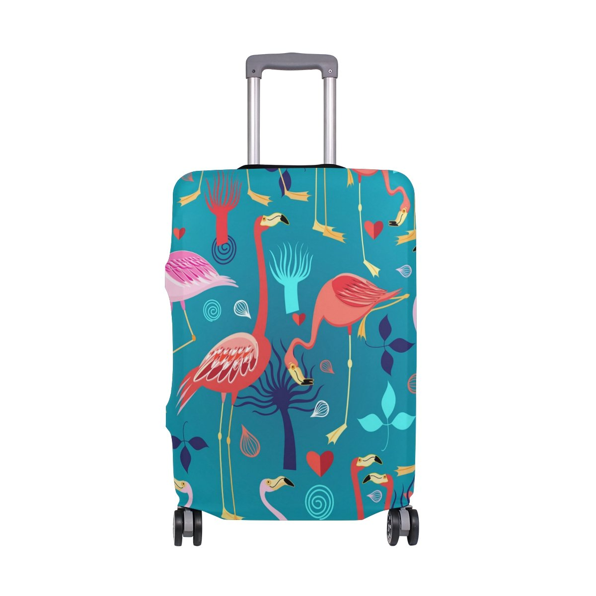 Hello Welcome Tropical Flamingo Floral Heart Love Valentines Suitcase Luggage Cover Protector for Travel Kids Men Women