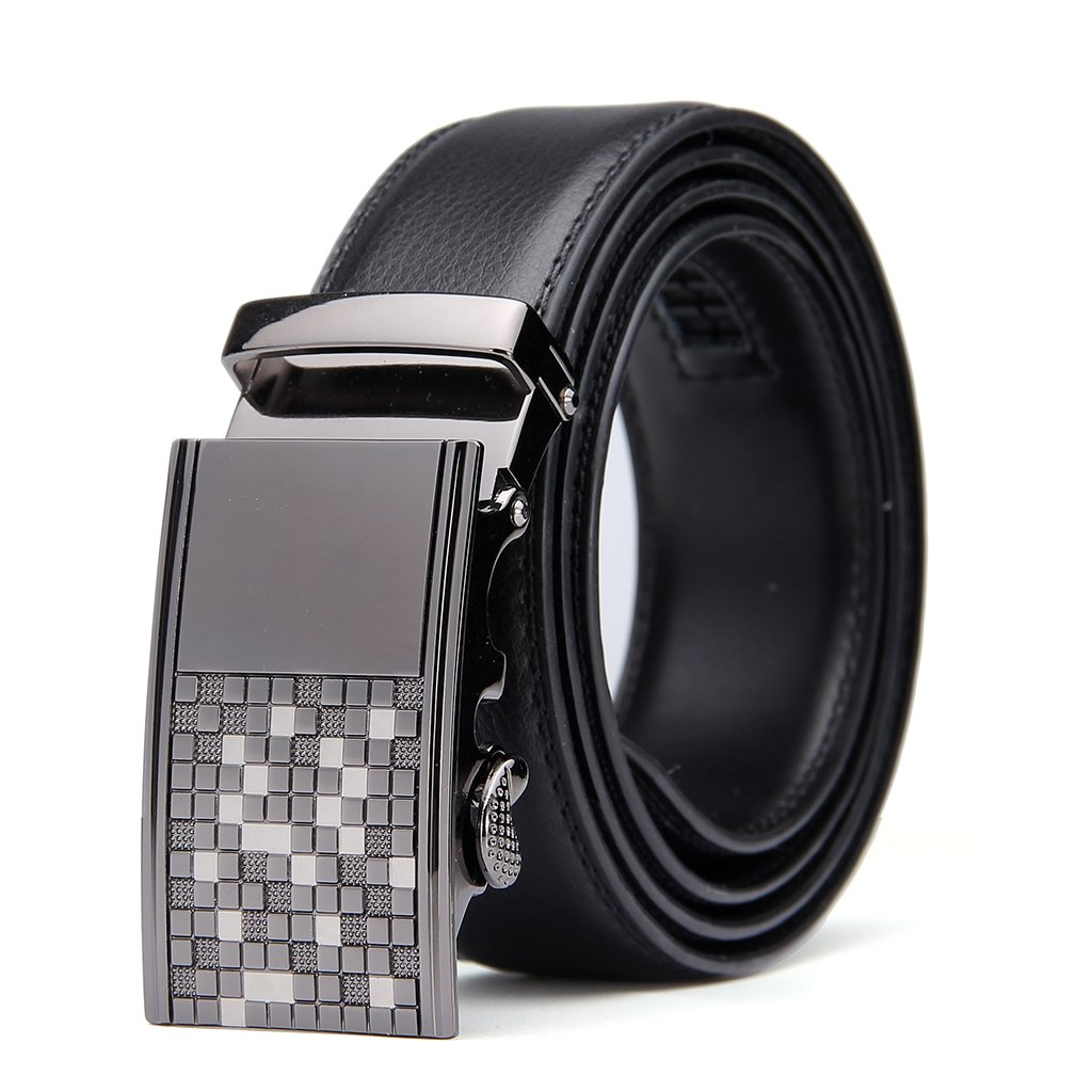 Men's Leather Belt with Automatic Solid Buckle -Scratch resistant - Ratchet Dress Belt With a Gift Box by Pazzi PIZIO (Waist 36''-42'', Black - Style 10)