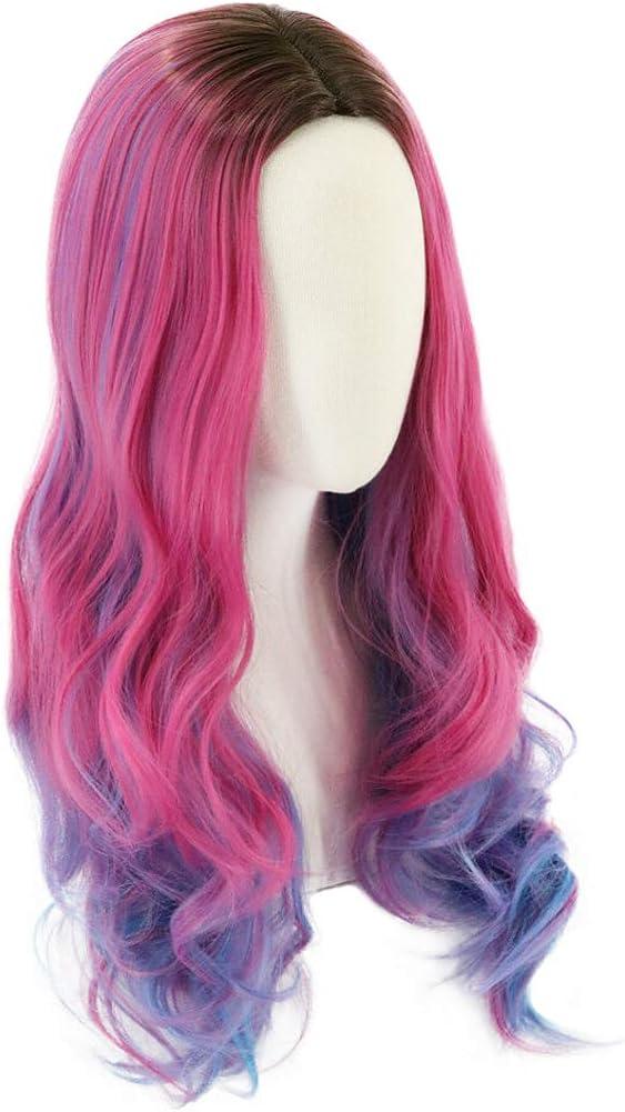 ColorfulPanda Audrey Peluca se Inspira en Descendants 3 para Mujeres y Niñas, Larga Ondulada Peluca Rosa Azul para Disfraz de Halloween Cosplay Fiesta ...