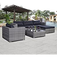 6pc Furniture Set Aluminum Patio Sofa Pe Gray Rattan Couch Black Cushion Covers